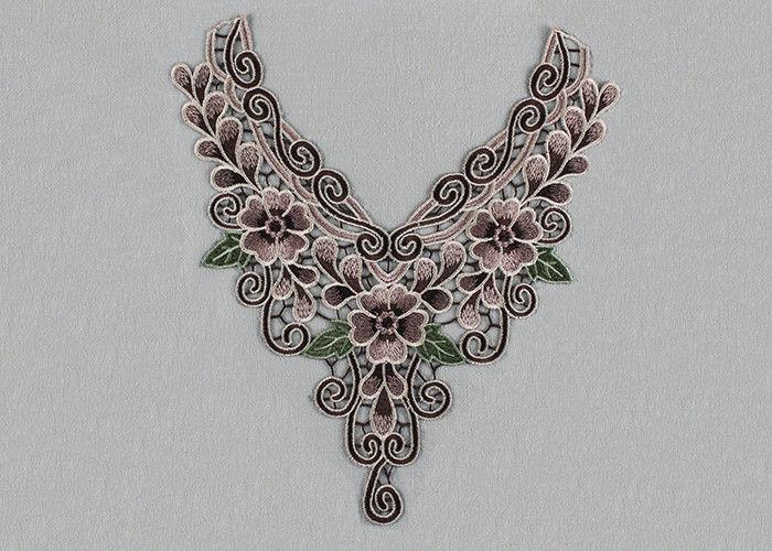Venice lace applique multi color lace collar applique with floral